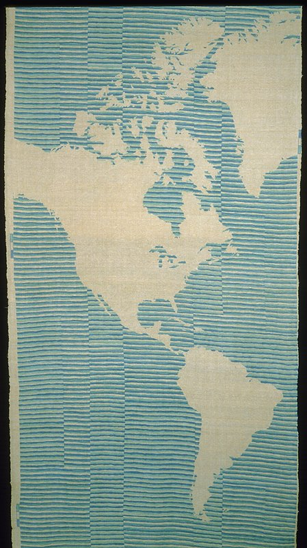 """Plain weave with printed design. Thin warp, thick weft. Map of the world. Pattern repeat, 92"""". Exmpl: South Am. is 30"""" long. Plain weave with printed design. Thin warp, thick weft. Map of the world. Water is blue. blue/green & white stripes. Land is white. Pattern repeat, 92"""". Exmpl: South Am. is 30"""" long. (blue/white)"""