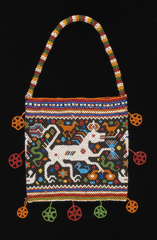 ceremonial beaded bag for betelnut with white dancing horse motif