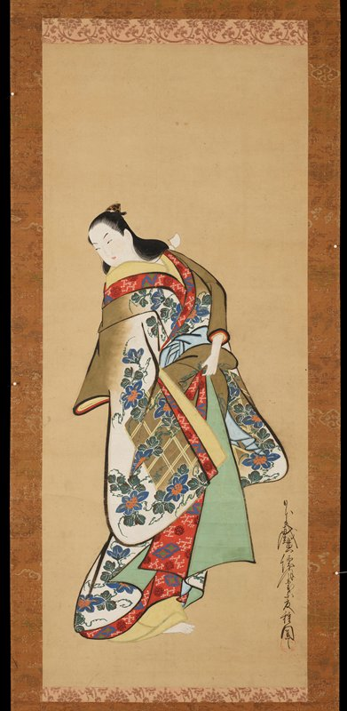 Standing female figure looking down to the left and holding up her robes at the waist with her left hand. Her outermost robe features a design of blue morning glories and a trellis, on a white and ochre ground. Her underrobes are yellow and green.