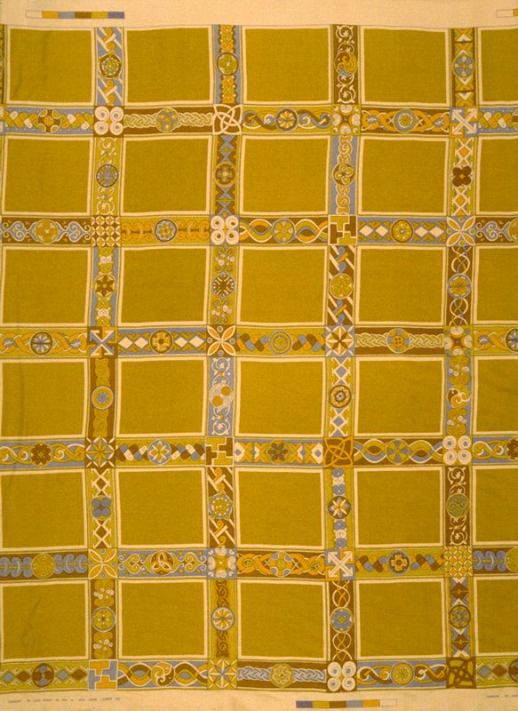 """Worsted satin print. Stacked 6"""" x 5"""" squares framed in 2.5"""" border designs. 34"""" vert. Rpt. Amber, grey, copper, gold. Amber"""