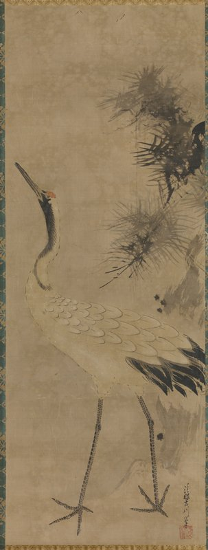 Right scroll of a triptych. Crane with outsretched neck calling out toward left, framed by pine boughs at right.