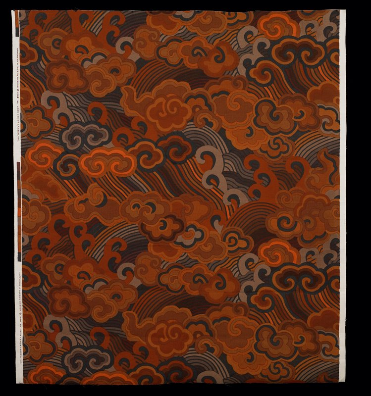 """China style clouds and waves. Vert rpt 32.75"""". Dark browns, orange & black Red Earth"""