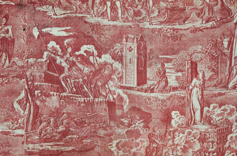 Toile, large piece, copper plate print in rose, Jeanne D'Arc design. Illustrating five incidents in Jeanne's life Her appearance before the king; leading Charles into Rouen; Jeanne going into battle; Jeanne repudiated by the king; Jeanne at the stake. The piece is made up of two widths of the toile stitched together.