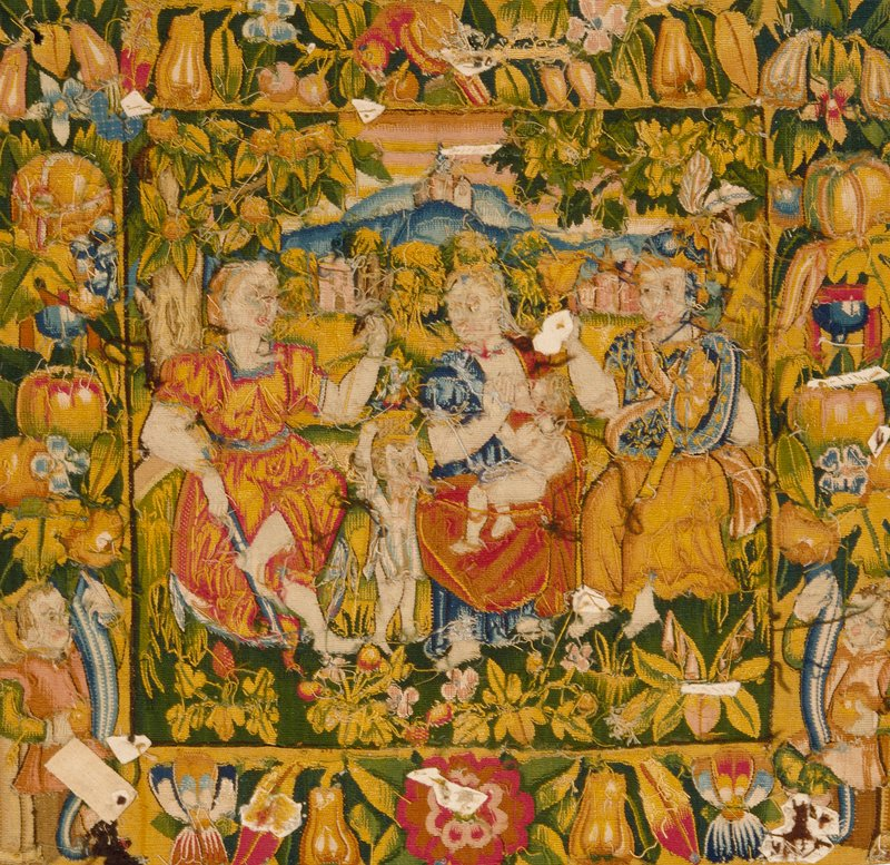 Cushion cover depicting Faith, Charity, and Hope, tapestry, Flemish XVIc cat. card dims W 20-3/4 x L 21-3/4'; originally one of a pair with 23.29.2, assumed to have been the top and bottom of a pillow