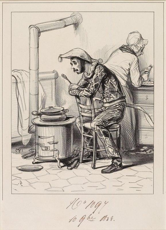 tired-looking man wearing a harlequin costume, seated backwards on a chair, holding a spoon; man watches a pot on stove; woman behind him