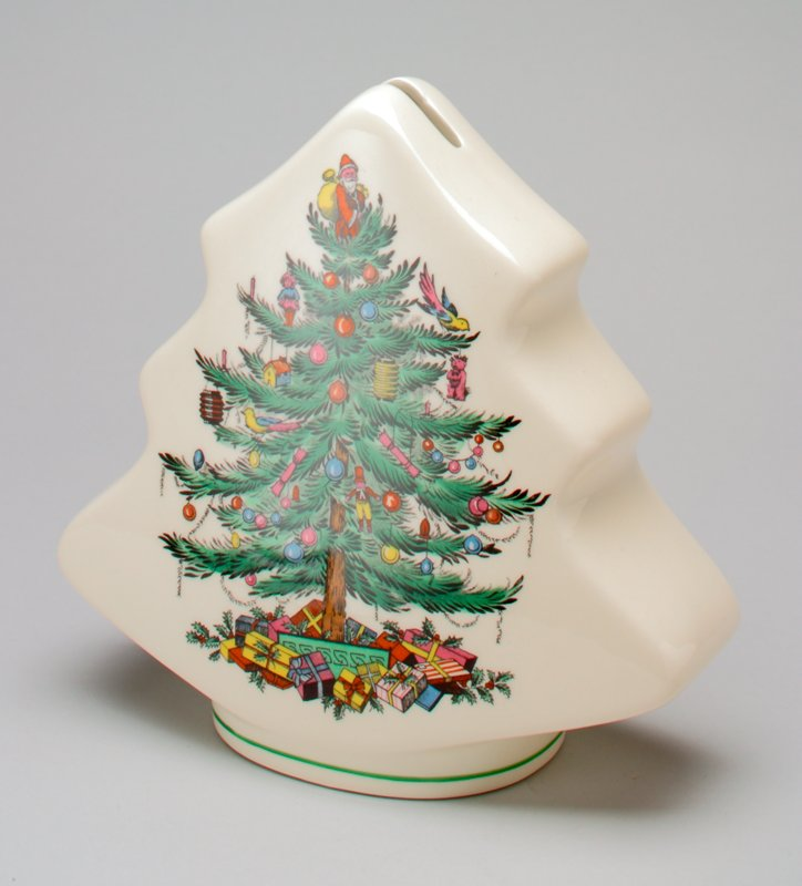 porcelain, in flat, pine tree shape; transfer design of decorated Christmas tree with presents below it on each side