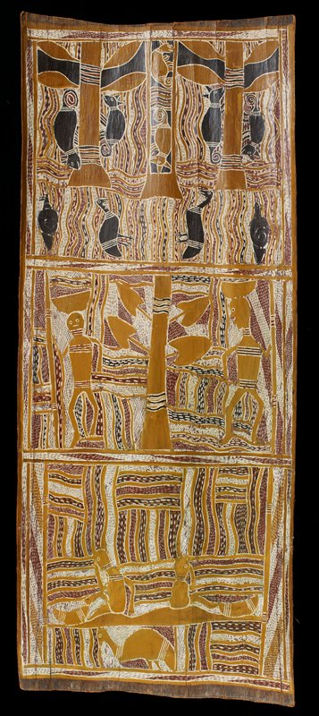 top panel shows abstracted possums and birds; central panel shows two men with staffs flanking a plant; bottom panel shows two wormlike figures and bird; wavy lines in background, with dots and dashes; orange, red, white and black