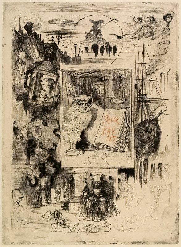 central rectangular section with an owl perched on a book and an open book; sketches around edges including man smoking pipe, ship, figure playing a lute, lanterns and horse-drawn carriage