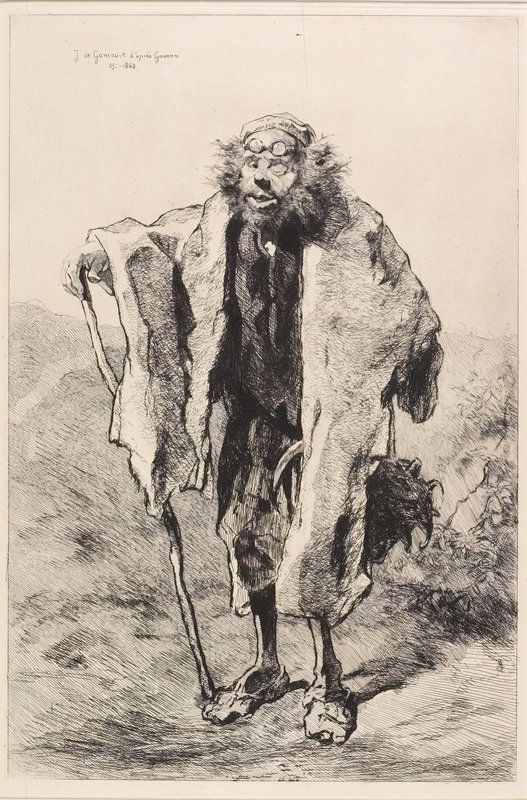 standing one-eyed man with glasses on his forehead and wild hair, wearing a small cap and cloak and leaning on a walking stick