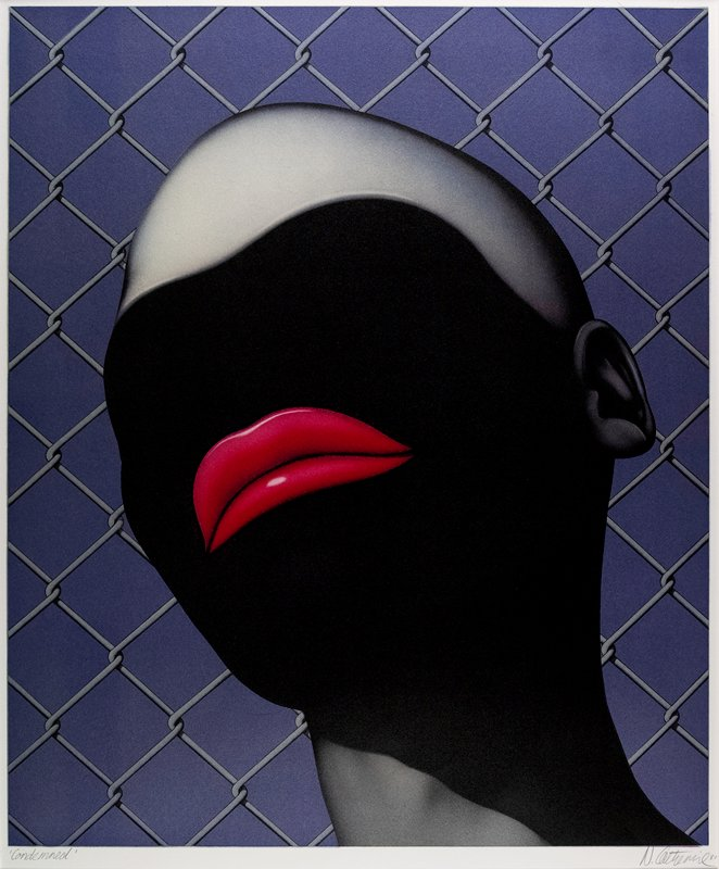 black and grey featureless head, except PL ear and large red lips, in front of grey chainlink and purple ground