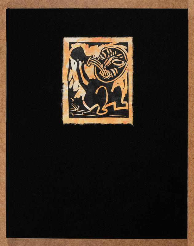 black buckram and paper portfolio; cover features a linocut on Japan paper by the artist