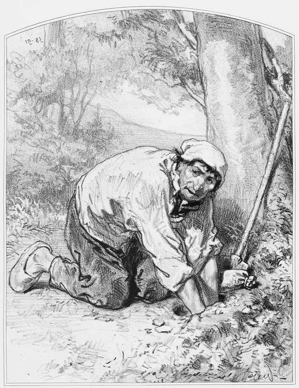 kneeling man wearing slippers, pants, a shirt with rolled-up sleeves and a cap, reaching both hands into a hole in the ground; small bag and shovel near tree at R