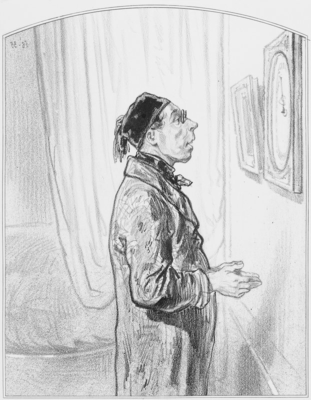 man in profile from PR, wearing a cap and spectacles, observing a barometer on the wall