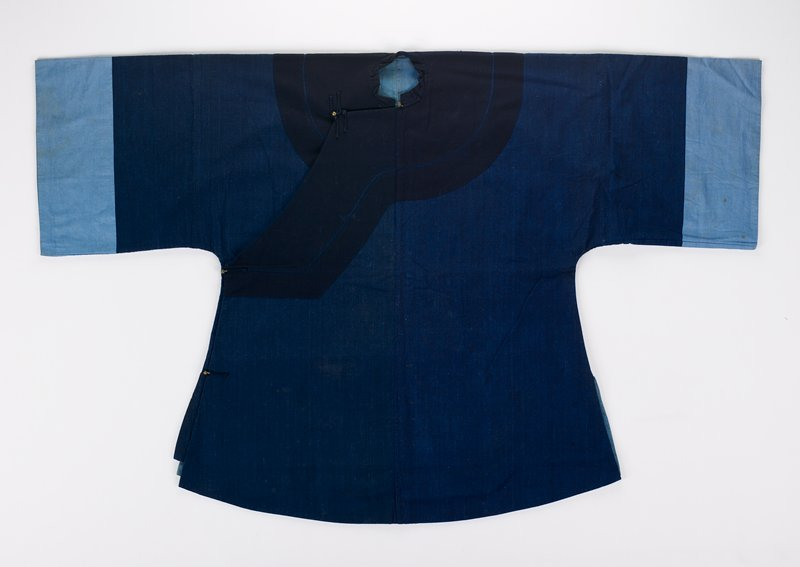 """home spun two-tone blue; overlap opening PR with 4 frogs and metal buttons; large darker blue applique circle and bands accenting neck and closure; very large 15"""" wide sleeves; 27"""" wide chest flaring to 34 1/2"""" at bottom; all sections lined"""