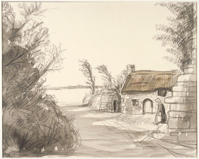 Small stone cottage at right, foliage to left