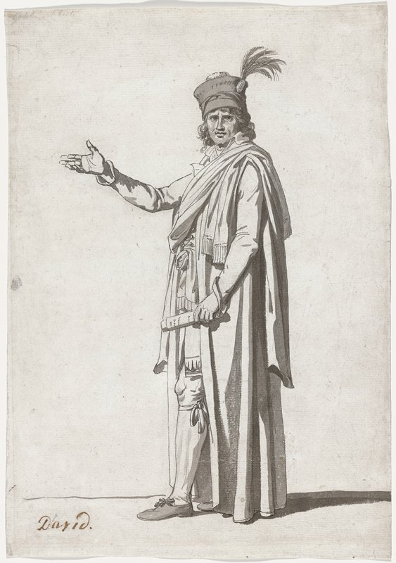 standing man with outstretched arm wearing elaborate costume with full-length cloak and hat with feather