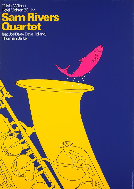 red fish jumping out of yellow saxophone against dark blue background; silver metal frame