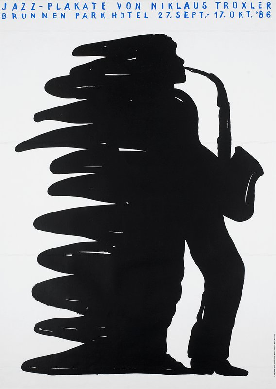 black silhouette of saxophone player with squiggly lines on left side of body; on white background; silver metal frame