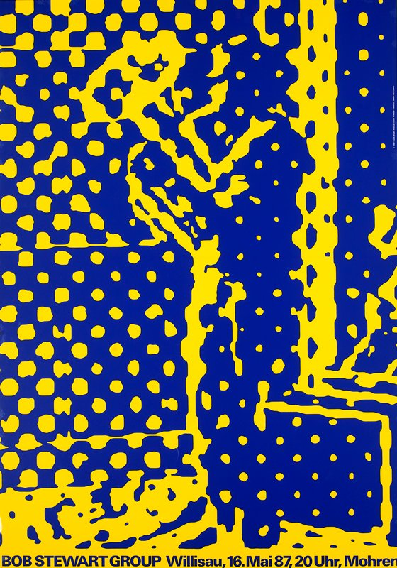 yellow and blue abstracted figure playing horn (?)