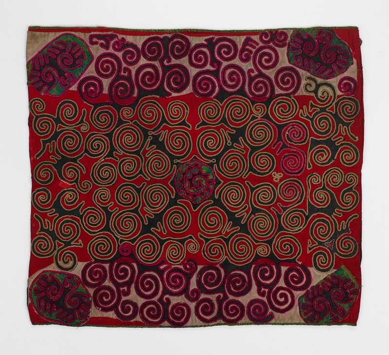"overall scroll applique in circular patterns edged in pink and tan cording; center 15"" red background; side borders, 5-1/2"" gray background; corner and center appliques of green silk; black background and lining"