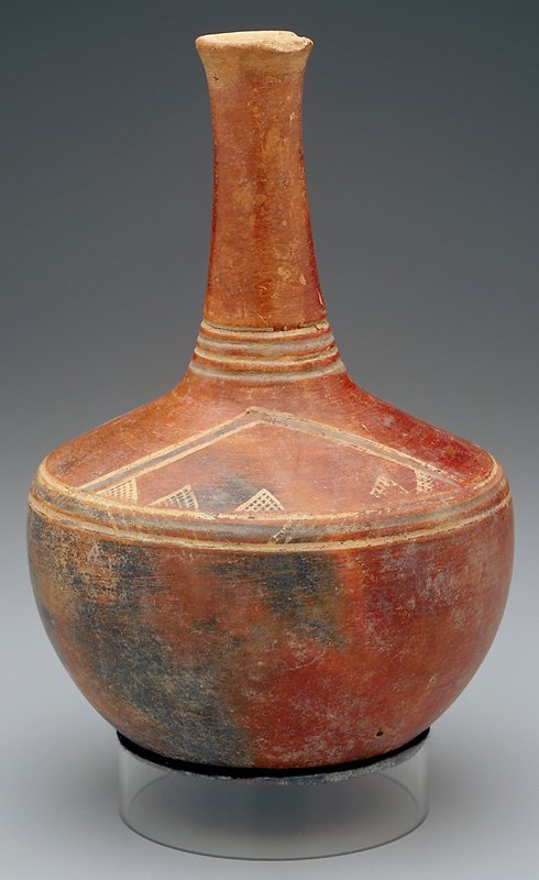 Rounded body with round bottom; slightly sloping shoulder; long thin neck, very slightly flaring at mouth; red body with geometric decorations of lines and triangles on shoulder in tan and grey