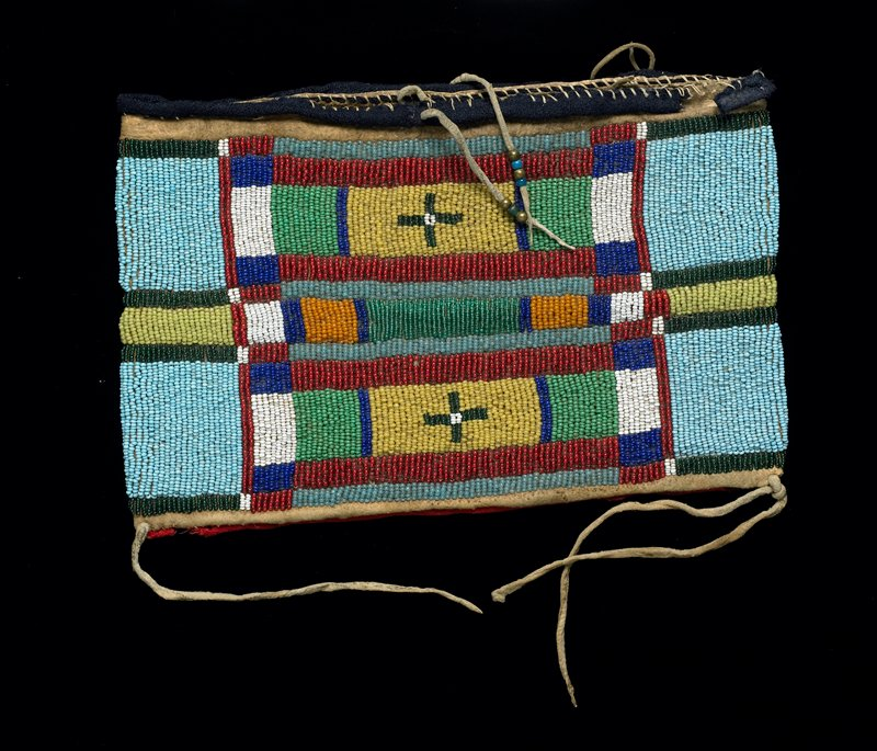 flat rectangular pouch with thin hide strap on one side; beaded overall; striped design on back in blues and greens; front has linear geometric designs in blues, greens, red, orange and white; tie closure with metal and glass beads