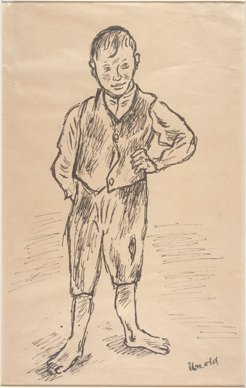 Boy with left hand on hip