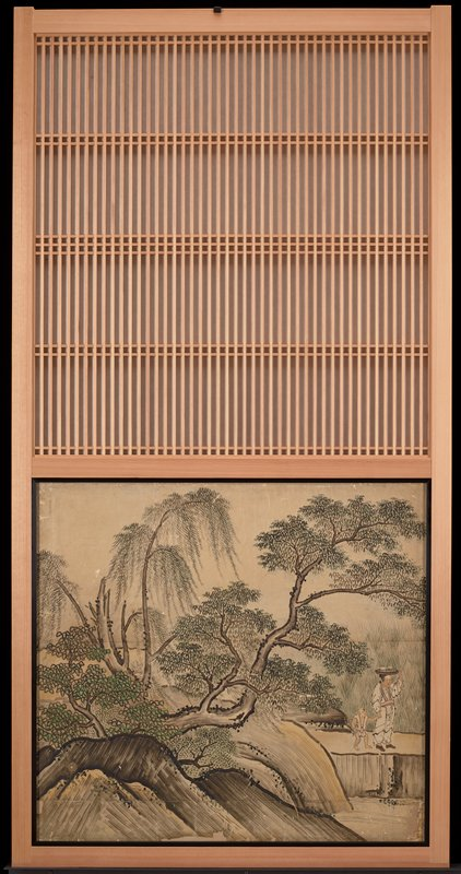 unsigned; from the Saga Palace, Kyoto; lush trees at left; two figures at right edge