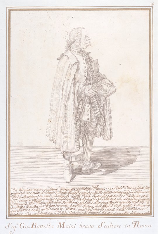 standing man wearing cape and holding framed picture; text at bottom