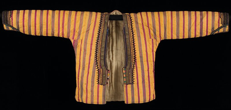 padded lined jacket; vertical red and gold striped; short side vents; neck, front and sleeves have applied metal braid and embroidery; front and sleeve cuffs have green loop and silk bead buttons; inside cuff had flannel lining