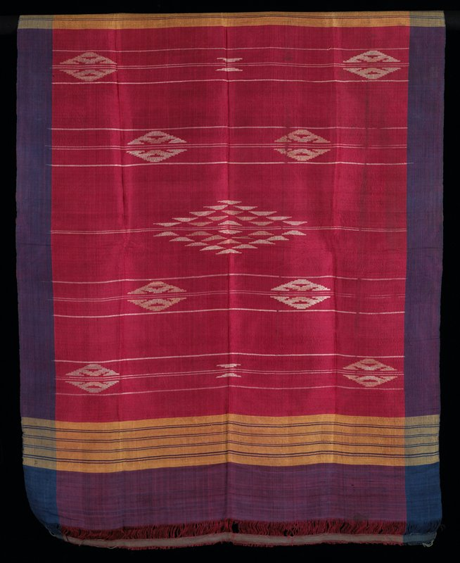 "red and yellow with blue/purple borders; finely woven with supplementary white diamond shapes; 1-1/2"" warp floats near top and bottom edges"