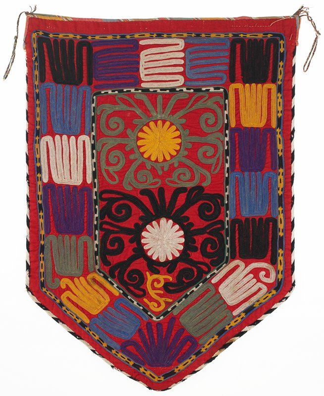 Cloth band, Bag back: cotton with printed lining, Red cotton flannel ground with polychrome silk embroidery. The black and white edge binding is formed from silk threads arranged in a herringbone pattern. The back of the bag is cotton flannel, and the inside lining is printed cotton fabric. Center five-sided shield with wide border on all five sides. Ties at upper corners, Chain stitch, embroidered through backing.