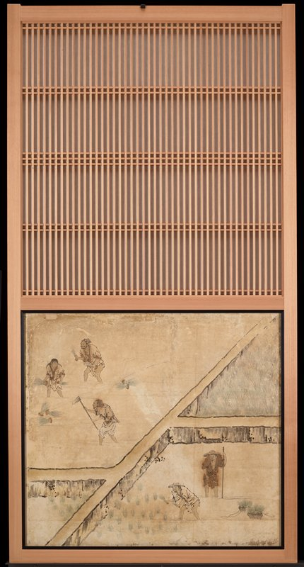 unsigned; from the Saga Palace, Kyoto; three figures working in rice field, ULC; two figures in another field, LRC