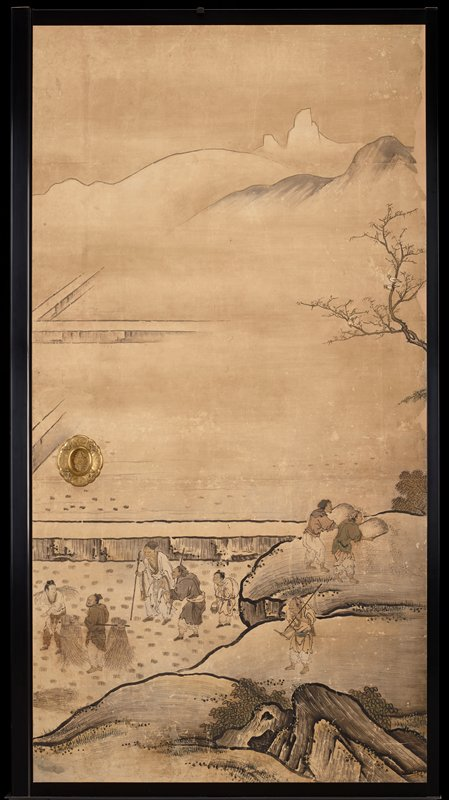 unsigned; from the Saga Palace, Kyoto; figures in field and above field on outcropping; possibly harvesting