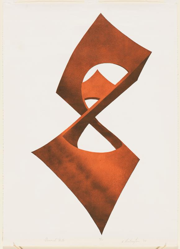 geometric shape rendered three-dimensionally, floating in space, with three open spaces in shape; rust-orange color
