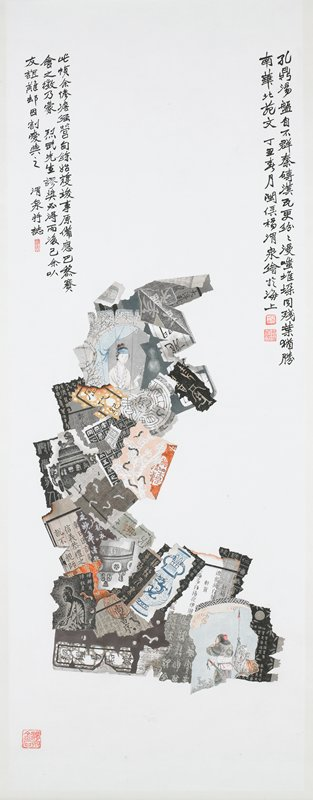 hyper-real painting of overlapping scraps of paper with text, drawings of vessels and pictures of a woman at a round window and a man with a horse; text at top corners; three seals
