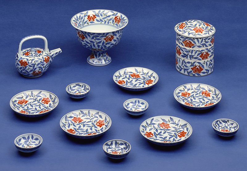 eighteen piece sake, porcelain in peony pattern, underglaze blue with overglaze enamels; see following card for list of objects, Saucer