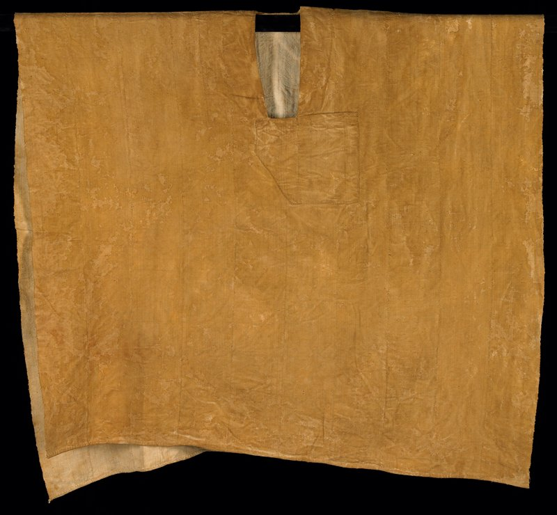 "gold coarse plain weave cotton woven in 5-1/4"" narrow bands hand-sewn together; open narrow square neckline with PL pocket; open side edges; very wide; neckline is lined; hand hemmed"