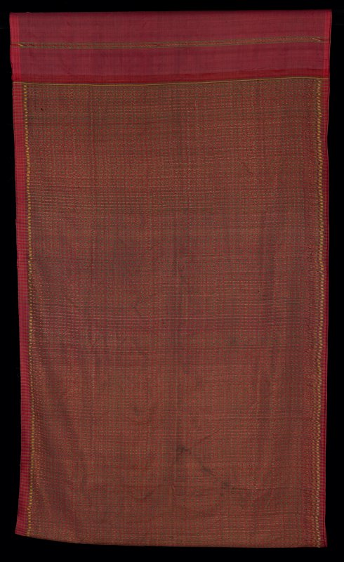 "silk woven in overall pattern of narrow, green vertical stripes on red with gold accents; hand stitched seam in center of 31"" section of 3-4"" solid red with 1/2"" stripes; selvedges have been hemmed"