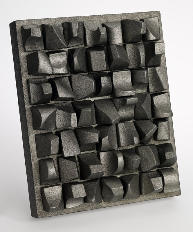 rectangular base with 49 sculptural pegs; grey metallic patina; underside of pegs and peg holes are gold; pegs numbered on bottom; wood case included