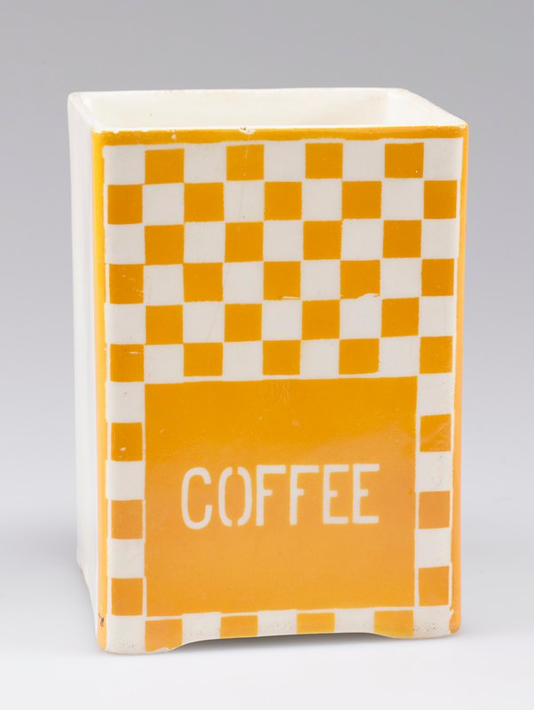 "open square container; porcelain with one side decorated with yellow-orange and white checkerboard and ""COFFEE"" in white"