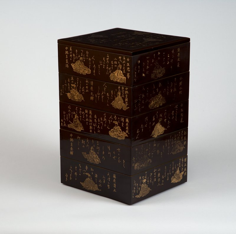 black box with inscriptions and images of male and female poets in voluminous courtly apparel on each side, from set of five stackable boxes and two lids