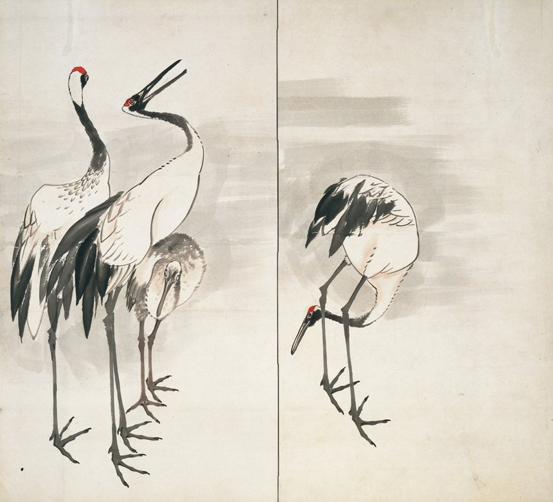 two-fold screen; unsigned; L screen from pair; three cranes at L panel; one is a young crane; one crane at R panel tucking head behind legs