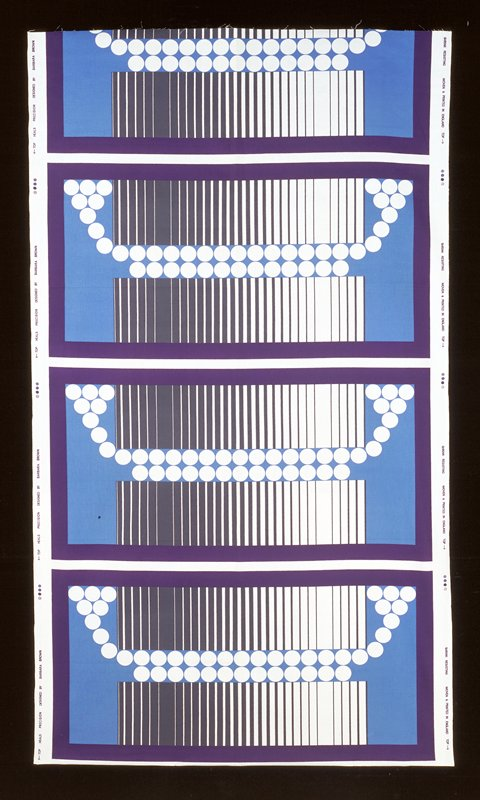 4-1/2 ü 1/3 repeats; bkg. white; rectangles with dark blue border inside stripes and circles motif (grey, white and light blue)