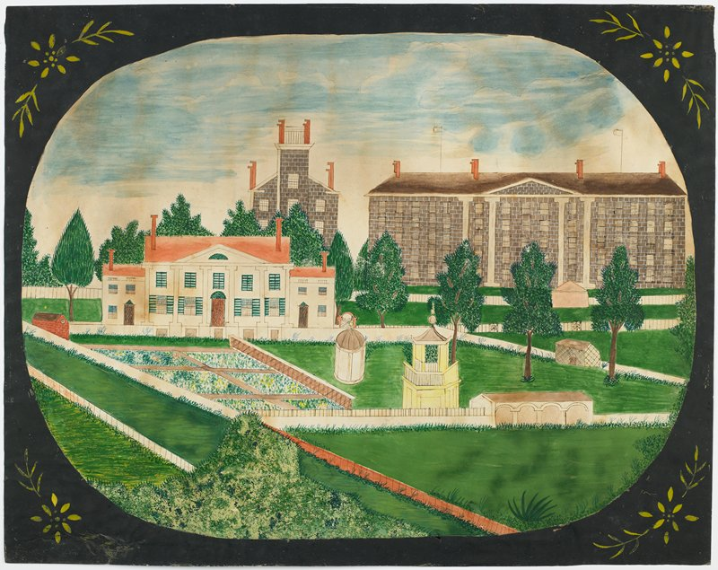 """primitive """"schoolgirl"""" drawing of seminary and school grounds with brick buildings and white building, gazebos and sheds; black oval border with yellow flowers in corners"""