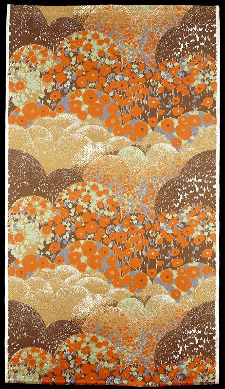 meadow with dark orange stylized flowers; blue, green, ochre, white, black areas; half circles dotted line black, ochre, white, green