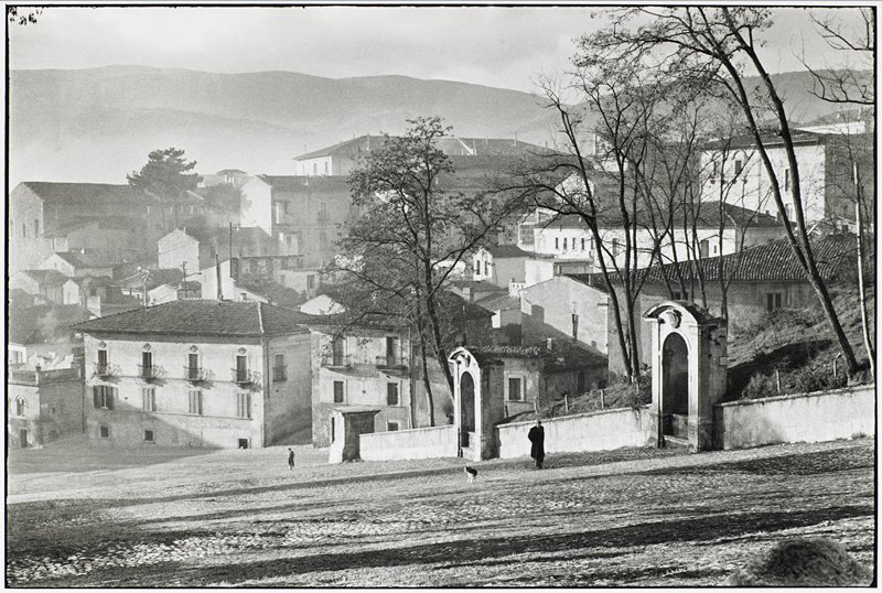 descending street scene; city buildings built on a hillside; street in foreground; two figures and dog on street