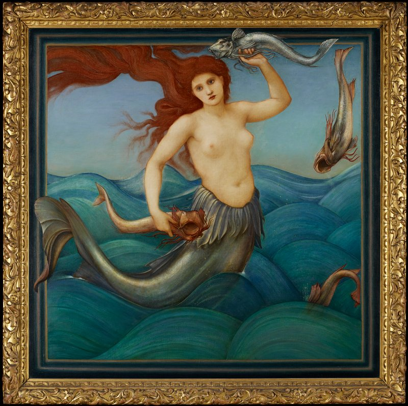 mermaid with flowing red hair rising above the waves; she is holding a fish in each hand