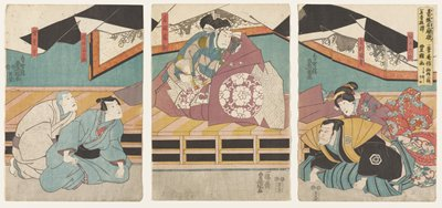 vertical ōban triptych; a (left):  two kneeling men; man at left wears white kimono with grey geometric patterns and grey obi; man at right wears blue kimono with black obi; both men look upward toward right; b (center):  man seated on raised platform, wearing expansive garment that is primarily purple with grey and white arc pattern and round medallion with white flowers; c (right):  two kneeling and bowing figures; man at left wears black and gold garment with hexagonal medallions with flowers on sleeves and shoulders and skirt of blue, grey and black stripes; woman at right wears purple and pink kimono with flowers and floral obi with red ground
